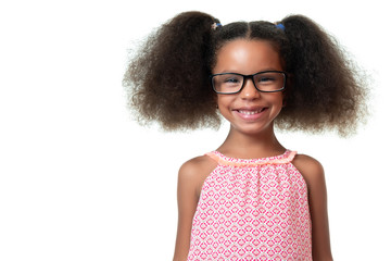 Portrait of a cute african american girl wearing glasses