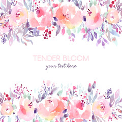 Rustic pastel watercolor background with roses and berries