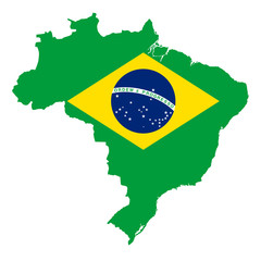 National flag of Brazil in country silhouette. Ensign, A Auriverde, blue disc with starry sky and national motto Ordem e Progresso, with yellow rhombus on green field. Illustration over white. Vector