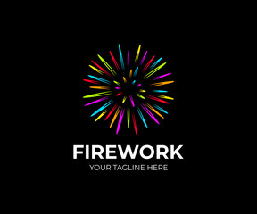 Multi colored firework logo template. Salute fireworks vector design. Colorful flash logotype