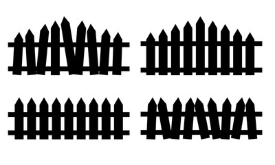 Wooden fence set. Simple silhouette design isolated on white