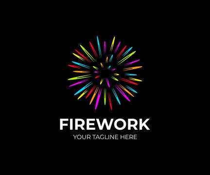 Multi colored firework logo template. Salute fireworks vector design. Colorful flash logotype