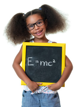 Cute african american girl with glasses holding a sign with a famous physics formula