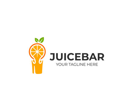 Fresh orange juice logo template. Fresh fruit drink vector design. Juice bar logotype