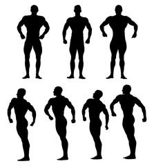 set athletes bodybuilders black silhouette bodybuilding competition