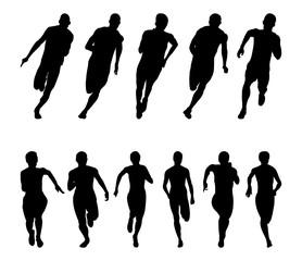 Set runners sprinters men and women black silhouette running group
