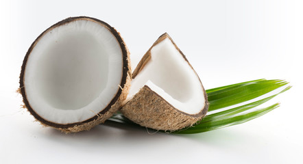 coconuts with leaves isolated on the white