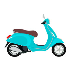 Flat image of a moped. Classic scooter, red, turquoise, blue and yellow