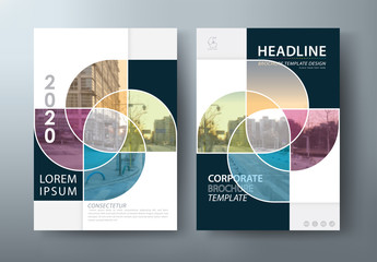 Annual report brochure flyer design template vector, Leaflet, presentation book cover templates, layout in A4 size  Wall mural
