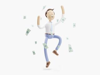 3d illustration. Businessman Jimmy is happy under the money rain