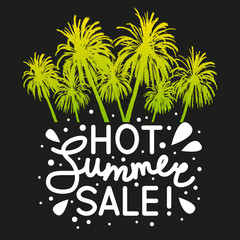 Summer sale message with palm trees silhouettes