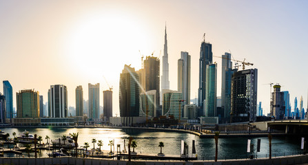 Panoramic view of downtown Dubai cityscape at sunset