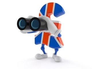 Pound currency character looking through binoculars