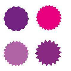Set of starburst, sunburst badges, labels, stickers. Different shades of pink, violet, purple color.