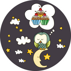 Cute owl dreaming with cupcakes on moon