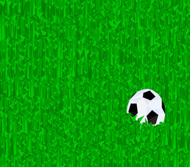 Abstract Low poly Football on the green grass field,geometric concept,vector