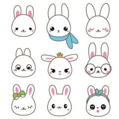 Cute rabbits. Bunny faces in kawaii style. Vector icons set