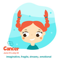 Cancer. Kids zodiac. Children horoscope sign. Astrological symbols in cartoon style