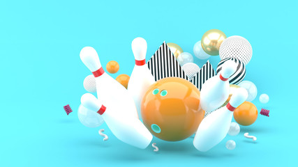 Orange bowling Among the colorful balls on the blue background.-3d rendering..