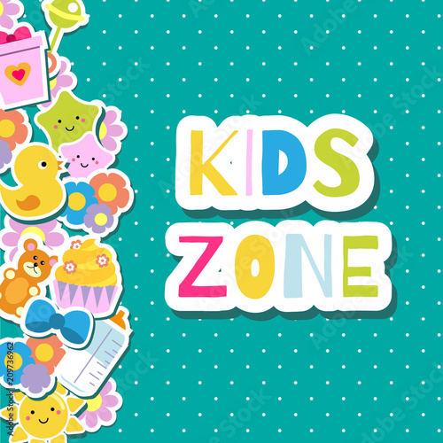 Kids Zone Banner Colorful Border Frame Background With Children Toys And Symbols