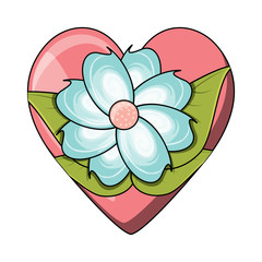 beautiful flower over heart and white background, colorful design. vector illustration