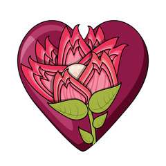 heart with beautiful flower icon over white background, colorful design. vector illustration