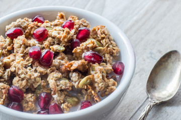 Granola Bowl with Pomegranate Seeds