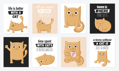 Vector cartoon set of cards with cute cats and funny lettering phrases.
