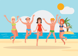 Happy group of young people jumping on the beach background.