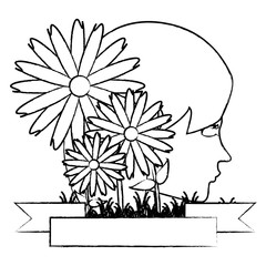 emblem with decorative flowers and profile of a woman over white background, vector illustration