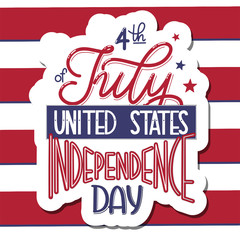 4th of July. USA independence day. Vector elements for invitations, posters, greeting cards. T-shirt design
