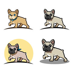 French Bulldog Cartoon Mascot Bundle Set