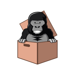 Gorilla Cartoon in Box Cardboard Package