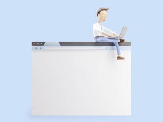 3d illustration. Businessman sit on internet browser