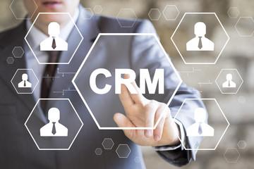 Wall Mural - CRM Customer Relationship Management Business Button Internet Techology Concept.