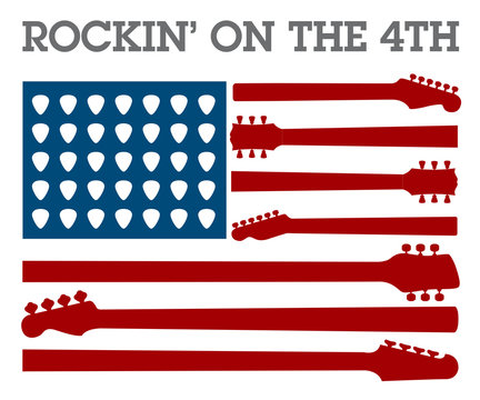 Creative 4th of July rock music poster for invitation or greeting card template