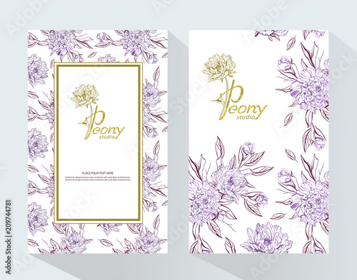 Trendy Luxury Product Branding Template With Label Peony Design For Natural Cosmetics Perfume Women Products