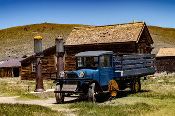 The ghost, mining town of Bodie in Mono County, California sits in a state of arrested decay