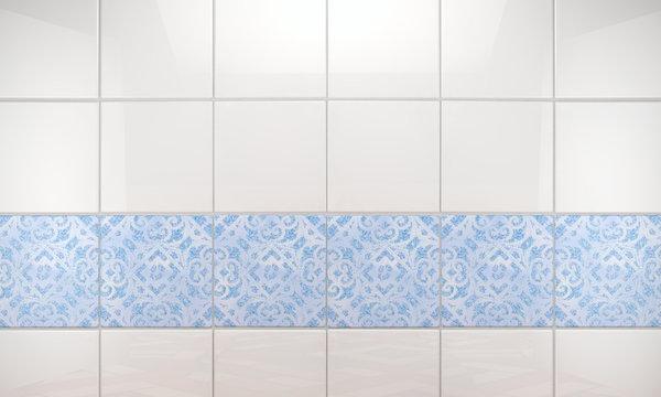 Fondo de pared de baño con baldosas limpias y brillantes.Arquitectura interior de casa.