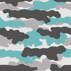 Seamless camouflage pattern for textile, fabric, print