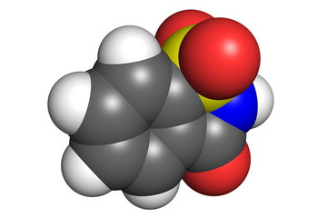 Saccharin molecule, space-filling model.
