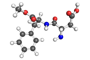 Aspartame molecule, ball-and-stick model.