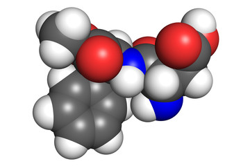 Aspartame molecule, space-filling model.