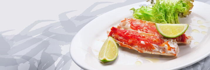 Red king crab meat served on white plate