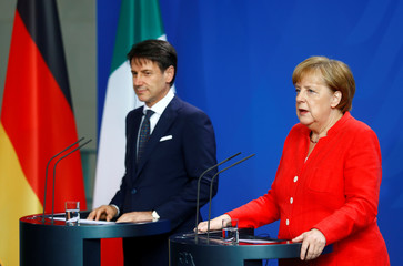 German Chancellor Merkel and Italian PM Conte hold a news conference at the chancellery in Berlin