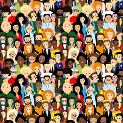 Seamless pattern with lots of diverse people.