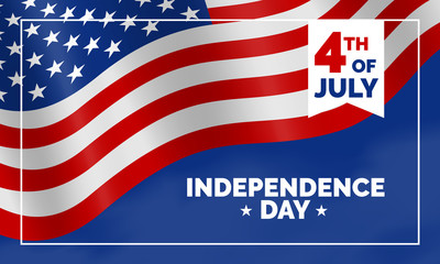 4th of july USA independence day banner design with american flag
