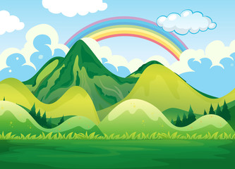 Nature Landscape and Rainbow