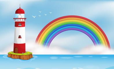 Lighthouse Island and Rainbow Seascape