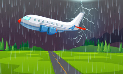 An Airplane Flying in Thunderstorm